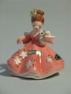 Josef Originals Japan July Doll with Kitten Figurine Original Box & Hang Tag