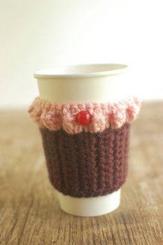 Cupcake coffee cozy by The Cozy Project.