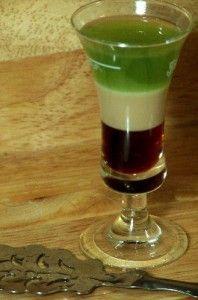 1 shot Absinthe  1 shot coffee liqueur  1 shot Bailey's Irish Cream