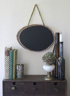 Chalkboard paint on wood disc. #chalkboard #crafts