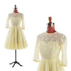 vintahe 60's cream illusion lace sleeves tea length wedding dress $100