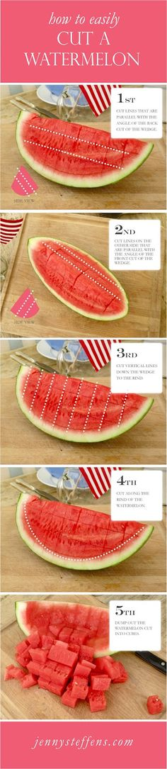 How to easily cut a watermelon without a mess  http://jennysteffens.blogspot.com/2011/06/watermelon-how-to-cut-watermelon.html