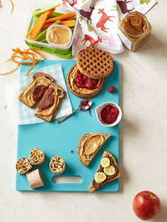 Rather than plain ol' PB&J, smear nut butter and fresh berry puree over a whole-grain toaster waffle. Click for more unique lunch and #snack ideas.