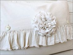 I just LOVE this Ruffle Pillow !!  It measures 17 x 24 inches   and has a down/feather insert ~  The fabric is pre-washed muslin  with a raw edge ruffle   for a wonderful look and feel ~    ~ Ruffle is 3 inches wide ~