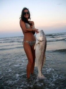 Brunette and fish
