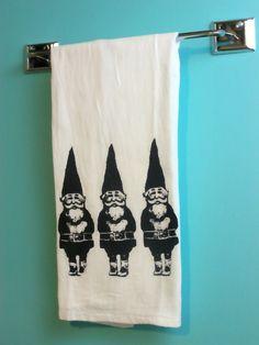 Gnome Tea Towel CUTE screenprint holiday decor by MoxieMadness, $10.00