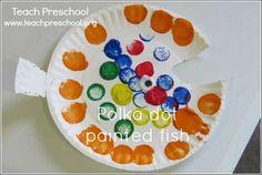 Polka dot painted fish by Teach Preschool