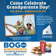 Share #GrandparentsDay with your grandkids & White Castle on Sept. 6th and 7th! Buy one meal, get one free and receive a nostalgic paper cap.