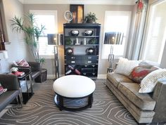 brown and cream living room