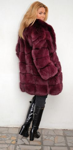 dyed fox fur coat love the colour