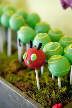 Hungry Caterpillar birthday cake pops
