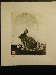 rabbit woodblock print on washi paper