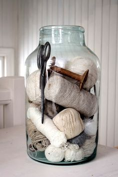 ball jars, hand blown glass, sewing thread, vintage sewing, old jars