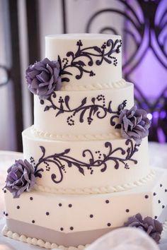 Purple and grey wedding cake http://alldeckdout.blogspot.com