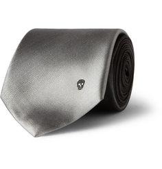 Alexander McQueen Embroidered Ombre Silk-Satin Tie | MR PORTER
