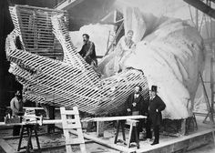 1875, France: Frédéric Auguste Bartholdi (bottom left), Statue of Liberty sculptor, constructing a final wood-and-plaster model of her left hand hand holding the torch. (The right hand holds the torch in the final Statue of Liberty.) #americanhistory #history #StatueofLiberty