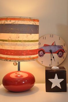 love this striped lamp for a boys room. colorful and classic!