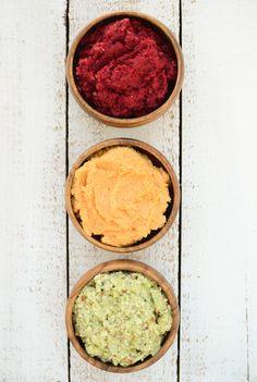 A Trio of Dips: Zucchini Almond Dip, Beetroot-Sun Dip & Sweet Potato Hummus #vegan