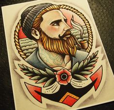 The Ginger Sailor Tattoo Art Print by ParlorTattooPrints on Etsy, $26.00
