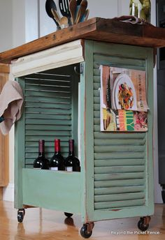 window shutters, picket fences, old shutters, old drawers, kitchen carts