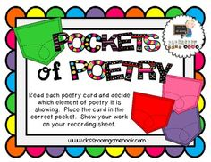 Pockets of Poetry - Center Game for Poetry Elements - FREEBIE!!