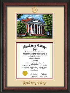 Lynchburg College Diploma Frame with premium hardwood moulding and official school seal and name embossing - campus landmark watercolor and superior UV glass - Cream on Crimson mat. A great graduation gift! colleges, lynchburg colleg, campus landmark, graduation gifts, diploma frame, colleg diploma, hardwood mould, premium hardwood, graduat gift