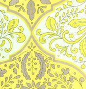 Grey and Yellow Damask Fabric