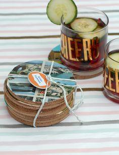 Vintage postcard coasters summon vacation memories with every sip. #DIY