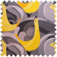 Peacocks Grey Fabric/ben the illustrator collection
