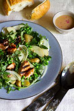 Grilled salmon, asparagus, pea, and arugula salad