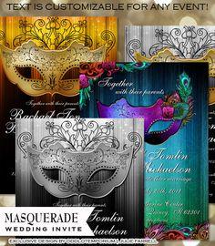 Masquerade Wedding Invitation - DIY Digital Printable - Gold, silver, MultiColored Peacock Masquerade Wedding theme $22.00 Professional Printing Available Custom Colors Available Designed by Odd Lot Weddings www.oddlotweddings.com