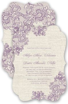 Lace Melody Wedding Invitation in Wisteria by David's Bridal