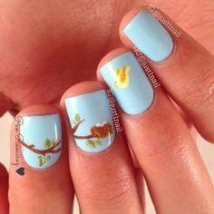 Spring bird and egg nails. So cute! By just1nail.