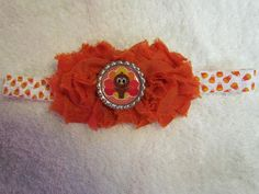 Fall Headband, with Turkey Center and candy corn elastic.