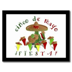 Cinco De Mayo Fiesta! (Add Background Color) Post Cards SHIPPING TO Graham, NC