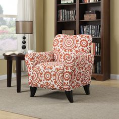@Overstock.com - The Portfolio Seth arm chair features a transitional design with flared arms and a shaped back. The Seth chair is covered in an orange spice and cream medallion fabric.http://www.overstock.com/Home-Garden/Portfolio-Seth-Orange-Spice-Medallion-Curved-Back-Arm-Chair/7877064/product.html?CID=214117 $249.99