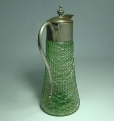 Loetz or Loetz Type Ribbed and Threaded Green Glass Syrup Jug green glass, glass syrup, antique glass, linda glass, antiqu glass
