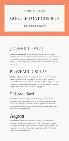 Font combinations using Google's (free) webfonts. Classy.