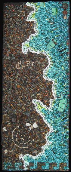 Rachel Sager: Pennsylvania sandstone, limestone, concretion stone, marble, glazed ceramic tile, Italian smalti, 24K gold smalti, copper pipe