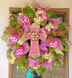 Easter Cross Decomesh Wreath by SammysWreathBoutique on Etsy