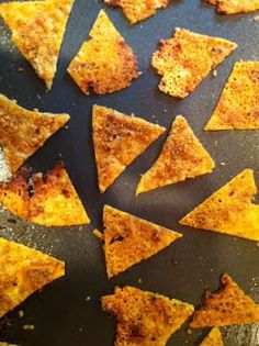 Low carb chips - Line cookie sheet w/waxed paper then lightly spray w/pam. Spread thinly 2 cups of Cheddar cheese then 1/2 cup Parmesan cheese and spices. Bake at 400 for 8-10min. Cut into chips.