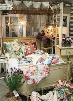 Farm Chick inspiration. Love the vintage cabbage rose fabric...