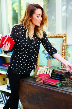 Lauren Conrad looking fab in a polka dots top