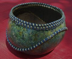 Coiled pine needle gourd basket by Dee22450 on Etsy, $150.00