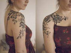I want some sort of trailing flower tattoos like this but with bachelor buttons and poppy seed flowers...pretty much just wild flowers.