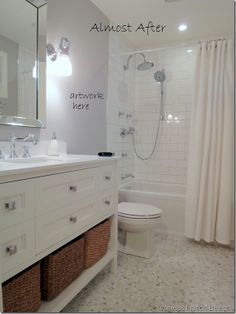 White bathroom vanity, drawers, faucet and baskets... Love Everything but the flooring and shower needs gray grout.  plus color on the wall