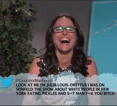 #JuliaLouisDreyfusReads Mean Tweets on Jimmy Kimmel Live! http://www.youtube.com/watch?v=cpOEO2gUekE