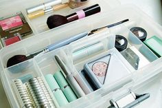 Use clear organization items like makeup trays and mason jars to categorize your drawers