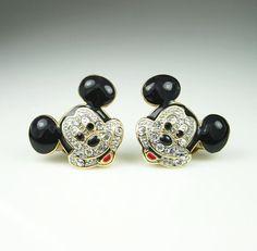 Vintage Earrings Mickey Mouse Disney Taiwan by zephyrvintage, $29.00