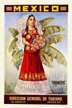 "Travel Poster Restored Mexico Tehuantepec 11""x17"" 27 94 x 43 18 Cm"